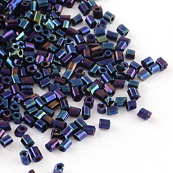 Plated Glass Bugle Beads, Iris, Blue Plated, 2~3x2mm, Hole: 1mm; about 450g/bag, 20000pcs/bag(SEED-R010-704)