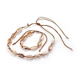 ensembles de bijoux de colliers et bracelets réglables, avec des perles en alliage et des perles de coquille, forme de cauris, colliers: 10.23 25.82 cm); bracelets: (26~65.6 / 1-3 / 4 3-7 cm); 8 pcs / set(SJEW-WH0002-03)