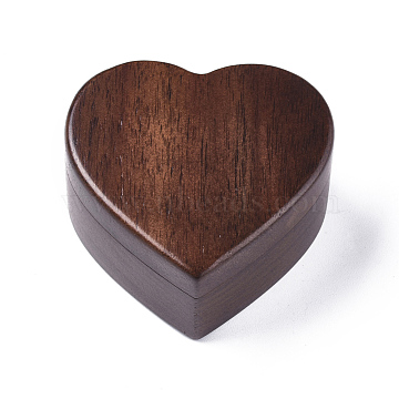 Portable Walnut Wooden Ring Boxes, with Sponge Lining, Engagement Ring Case, Heart, CoconutBrown, 5.5x6x3.24cm(OBOX-WH0004-12A)