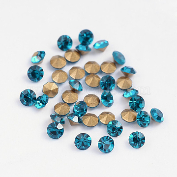 Back Plated Grade A Diamond Glass Pointed Rhinestone, Blue Zircon, 6~6.2mm; about 288pcs/bag(RGLA-SS28-007)