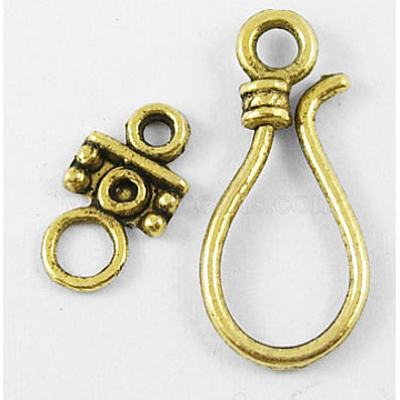 Tibetan Style Hook and Eye Clasps, Antique Golden Color, Lead Free and Cadmium Free, Size: clasp: 11x24mm, 14mm long, hole: 3.5mm(X-GLF1278Y)