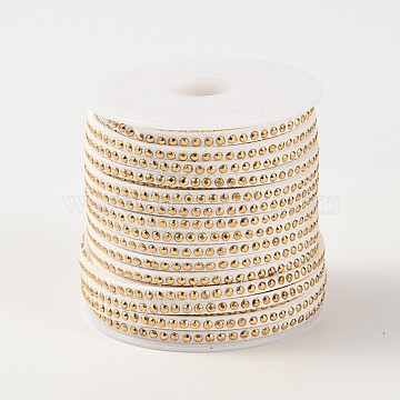 Rivet Faux Suede Cord, Faux Suede Lace, with Aluminum, WhiteSmoke, 3x2mm; about 20yards/roll(LW-M002-06)
