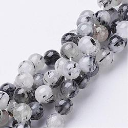 Natural Black Rutilated Quartz Beads Strands, Round, 10mm, Hole: 1mm, 19pcs/strand, 8inches