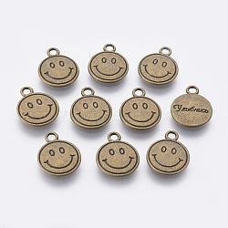 Pendentif de visage souriante de style tibétain, sans plomb et sans cadmium et sans nickel, rond et plat avec des mots, bronze antique, 15x12x2mm, Trou: 2mm(TIBEP-16693-AB-NR)