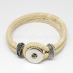 PU материалы кожаный браслет, с латунными снимками и фурнитурой сплавочной, оснастки браслеты, платина, бледно-золотовый, 230x19 мм(X-AJEW-R023-04)