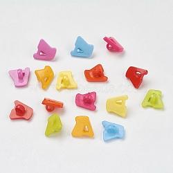 Boutons en acrylique, 1-trou, teint, lettre a, couleur mixte, 14x13x2mm, Trou: 3mm(X-BUTT-E028-M)