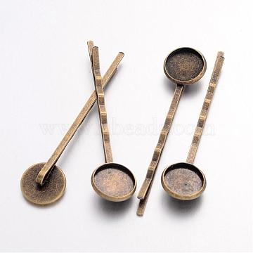 Antique Bronze Iron Hair Bobby Pin Findings, Flat Round, Nickel Free, 54x14mm, Tray: 12mm(X-IFIN-Q101-5-NF)
