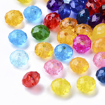 Transparent Plastic Beads, Faceted, Rondelle, Mixed Color, 8x5.5mm, Hole: 1.8mm(X-KY-I004-02)