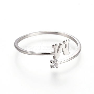925 Sterling Silver Cuff Rings, Open Rings, with Cubic Zirconia, Platinum, Clear, Letter.W, Size 7, 17mm; letter W: about 4.5x5x0.8mm.(STER-D033-01W-P)