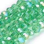 3mm LightGreen Round Electroplate Glass Beads(X-EGLA-D021-33)