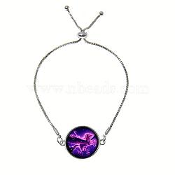 """Bracelets réglables en alliage de zinc et verre, bracelets bolo, avec des chaînes de fer, rond et plat avec licorne, mediumvioletred, 9"""" (23 cm)(BJEW-P250-SE049)"""