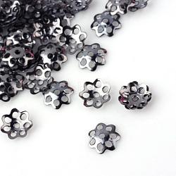 Iron Bead Caps, Cadmium Free & Lead Free, Flower, Multi-Petal, Gunmetal, 6x1mm, Hole: 1mm; about 871pcs/20g(X-IFIN-R197-B)