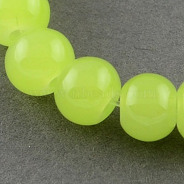 Imitation Jade Glass Round Beads Strands, Spray Painted, LightGreen, 8mm; Hole: 1.3~1.6mm, about 100pcs/strand, 31.4inches(X-DGLA-S076-8mm-03)