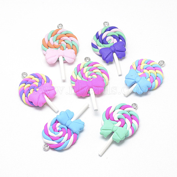 Handmade Polymer Clay Pendants, Lollipop with Bowknot, Mixed Color, 40~53x27~30x7~9mm, Hole: 2mm(X-CLAY-Q240-012)