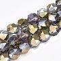 Electroplate Glass Beads Strands, Half Plated, Faceted, Round, LightKhaki, 11.5x11mm, Hole: 1.5mm; about 60pcs/strand, 26.3''