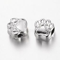 alliage de pied européennes grosses perles de trou, sans plomb et sans nickel, plaqué argent, 11x11x8 mm, trou: 4.5 mm(MPDL-F014-01S-FF)