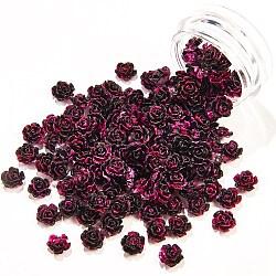 Cabochons de résine peints, accessoires nail art de décoration, Couleur de deux tons, fleur, noir, 6~6.5x6~6.5x3~3.5mm; surface arrière: 4~4.5mm; environ 10pcs / box(MRMJ-Q057-001C-B)
