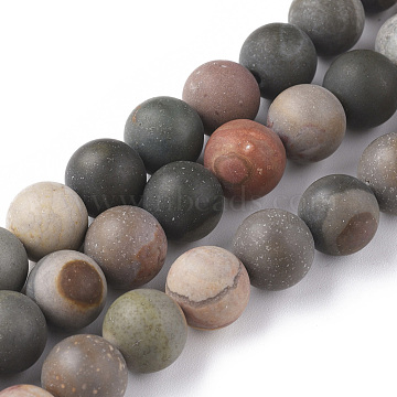 Natural Ocean Jasper Beads Strands, Frosted, Round, 10mm, Hole: 1mm; about 38pcs/strand, 15.35 inches(39cm)(G-F668-27-10mm)