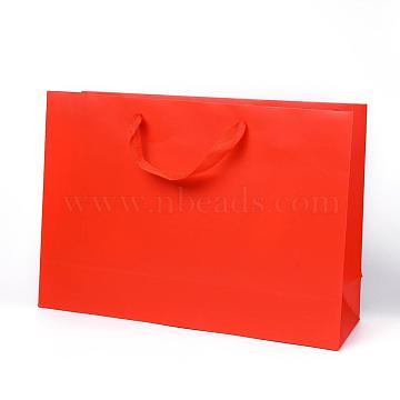 Sacs en papier kraft, avec poignées, sacs-cadeaux, sacs à provisions, rectangle, rouge, 28x40x12.2 cm(AJEW-F005-04-D)