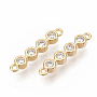Real Gold Plated Clear Rectangle Brass+Cubic Zirconia Links(ZIRC-T011-11G-NF)