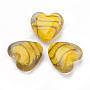 Gold Heart Lampwork Beads(LAMP-R138-02E)