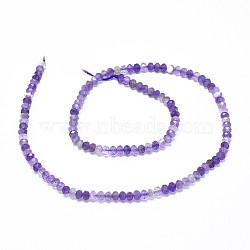 Natural Amethyst Beads Strands, Faceted, Rondelle, 3.5~4x2~2.5mm, Hole: 0.7mm; about 43pcs/strand, 15.5''(39.5cm)