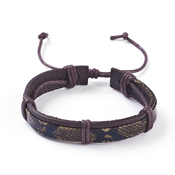 Adjustable Leather Cord Bracelets, with Waxed Cord, Coffee, 2 inches~3 inches(5~7.5cm)(BJEW-P252-B01)
