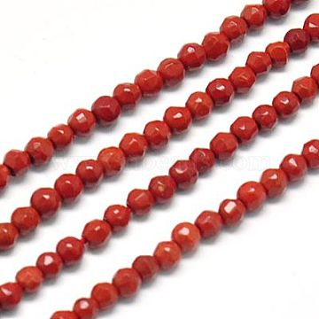 Natural Red Jasper Beads Strands, Faceted, Round, FireBrick, 2mm, Hole: 0.5mm(X-G-J002-22)