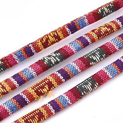 Cordes en tissu de style ethnique, avec cordon en coton à l'intérieur, colorées, 6.5~7x5 mm; environ 100 m / bundle(OCOR-S034-06)
