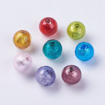 10mm Mixed Color Round Silver Foil Beads