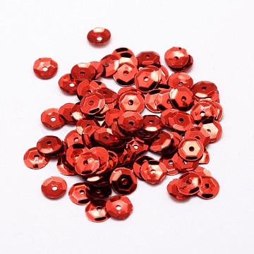 Plastic Paillette Beads, Semi-cupped Sequins Beads, Center Hole, FireBrick, 8x0.5mm, Hole: 1mm(X-PVC-A001-8mm-07)