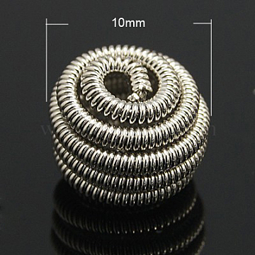 Brass Spring Beads, Coil Beads, Flat Round, Platinum Color, 10x7mm, hole: 2mm(KK-C3040-N)