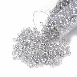 Miyuki® délicat perles, Perles de rocaille japonais, 11/0, (db0107) lustre gris arc-en-ciel gris transparent, 1x1.5mm, trou: 0.5 mm; sur 2000 pcs / bouteille(SEED-S015-DB-0107)