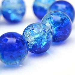 """Cuisson peints en verre craquelé brins de perles, rond, bleu, 4 mm; trou: 1.1~1.3 mm; environ 200 pcs / brin, 31.4""""(X-CCG-S001-4mm-16)"""