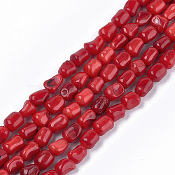 perles de corail de bambou marin (imitation corail), teints, nuggets, firebrick, 6~9x6~7x5~6.5 mm, trou: 0.6 mm; environ 59 perle / brin, 17.3(X-CORA-T009-14)