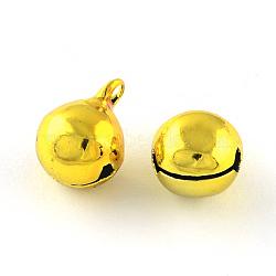 pendentifs de cloche en laiton, or, 20x16 mm, trou: 2 mm(X-KKB-R002-16mm-07)