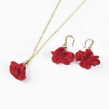 Red Cloth Earrings & Necklaces