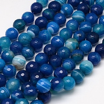 10mm MarineBlue Round Banded Agate Beads