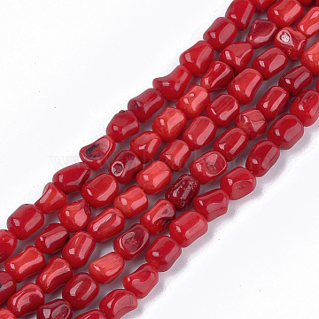 Sea Bamboo Coral(Imitation Coral) Beads Strands, Dyed, Nuggets, FireBrick, 6~16x6~8x5~7mm, Hole: 0.6mm, about 40~45pcs/strand, 15.55 inches(39.5cm)(X-CORA-T009-14)