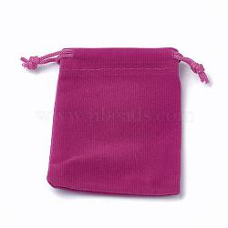 Pochettes rectangle en velours, sacs-cadeaux, camélia, 15x12 cm(TP-R022-12x15-05)