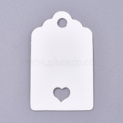 Paper Price Tags, Hang Tags, for Jewelry Display, Arts and Crafts, Wedding Christmas, Rectangle with Heart, White, 50x30x0.3mm, Hole: 5mm(CDIS-E009-04B)