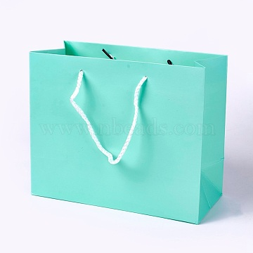 Kraft Paper Bags, with Handles, Gift Bags, Shopping Bags, Rectangle, Aquamarine, 18x22x10.2cm(X-AJEW-F005-02-A01)