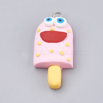 Platinum PearlPink Food Polymer Clay Pendants