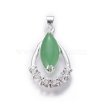 Cat Eye Pendants, with Cubic Zirconia and Alloy Findings, Teardrop, Silver Color Plated, LimeGreen, 25x16x5mm, Hole: 4x5mm(X-PALLOY-F228-08S)