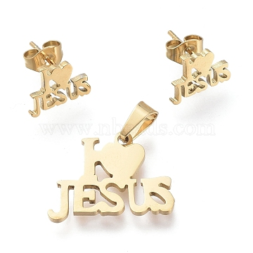 Easter 304 Stainless Steel Jewelry Sets, Pendants and Stud Earrings, with Ear Nuts, Word I Love JESUS, Golden, 14.5x19x1mm, Hole: 5x3mm; 7.5x10.5mm, Pin: 0.7mm(SJEW-K154-16G)