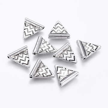 CCB Plastic Beads, Triangle, Antique Silver, 14x13.5x3mm, Hole: 1mm(CCB-K003-03AS)