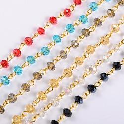 """Chaînes de perles de verre rondelles faites à la main pour la fabrication de bracelets de colliers, avec épingle à œil en fer doré, non soudée, couleur mixte, 39.3""""; perles de verre: 6x4mm(AJEW-JB00037)"""