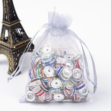 Organza Gift Bags with Drawstring, Jewelry Pouches, Wedding Party Christmas Favor Gift Bags, Light Grey, 12x9cm(OP-R016-9x12cm-05)