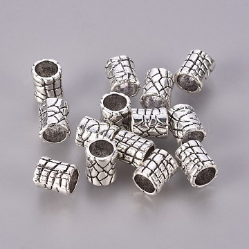 Tibetan Style Alloy Beads, Lead Free & Cadmium Free, Column, Antique Silver, about 6mm in diameter, 7mm long, hole: 4mm(X-LF0979Y)