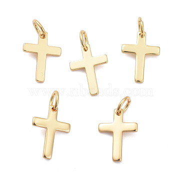 Brass Pendants, Long-Lasting Plated, Cross, Real 18K Gold Plated, 12.5x9x1mm, Hole: 3.2mm(X-ZIRC-G160-38G)